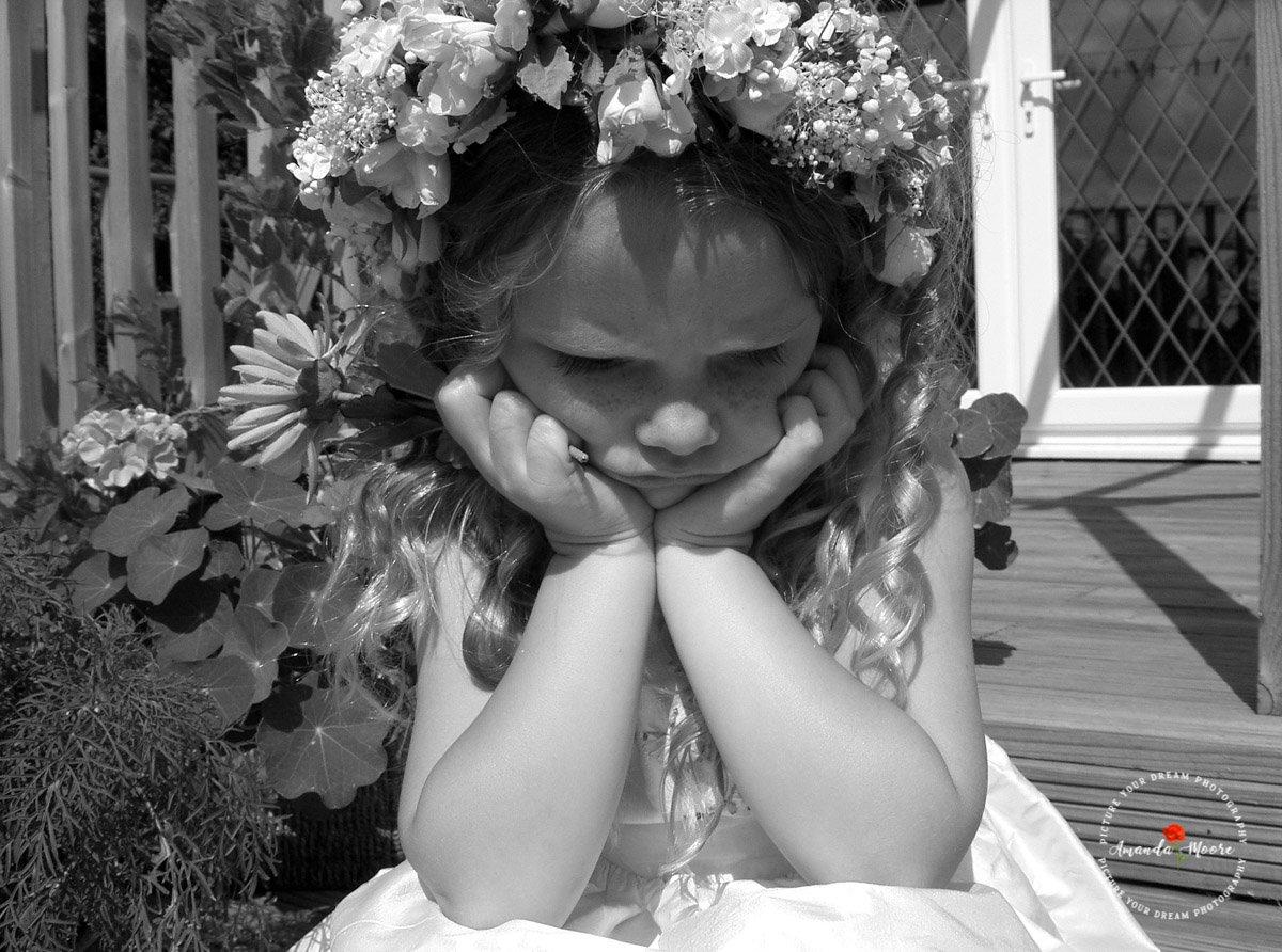 Bridesmaid girl sad grumpy wedding photograph