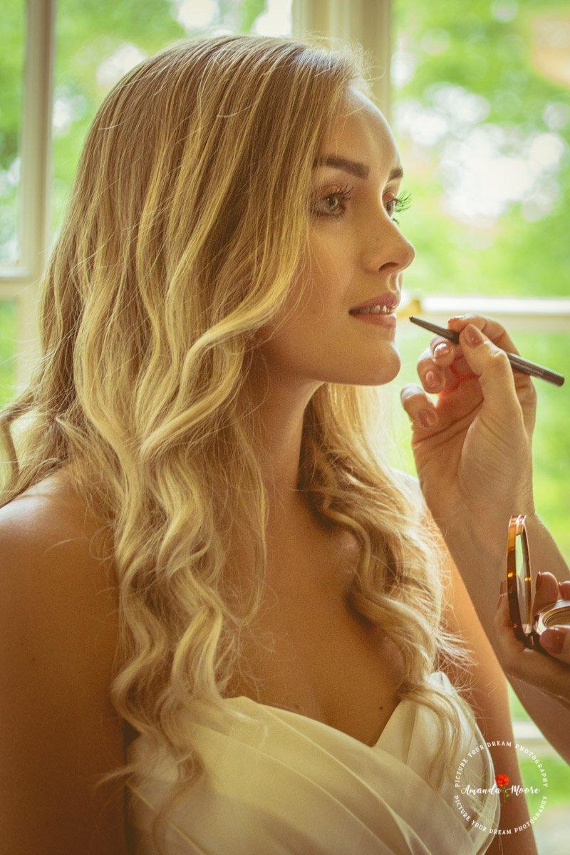 Bride lipstick make up wedding photograph