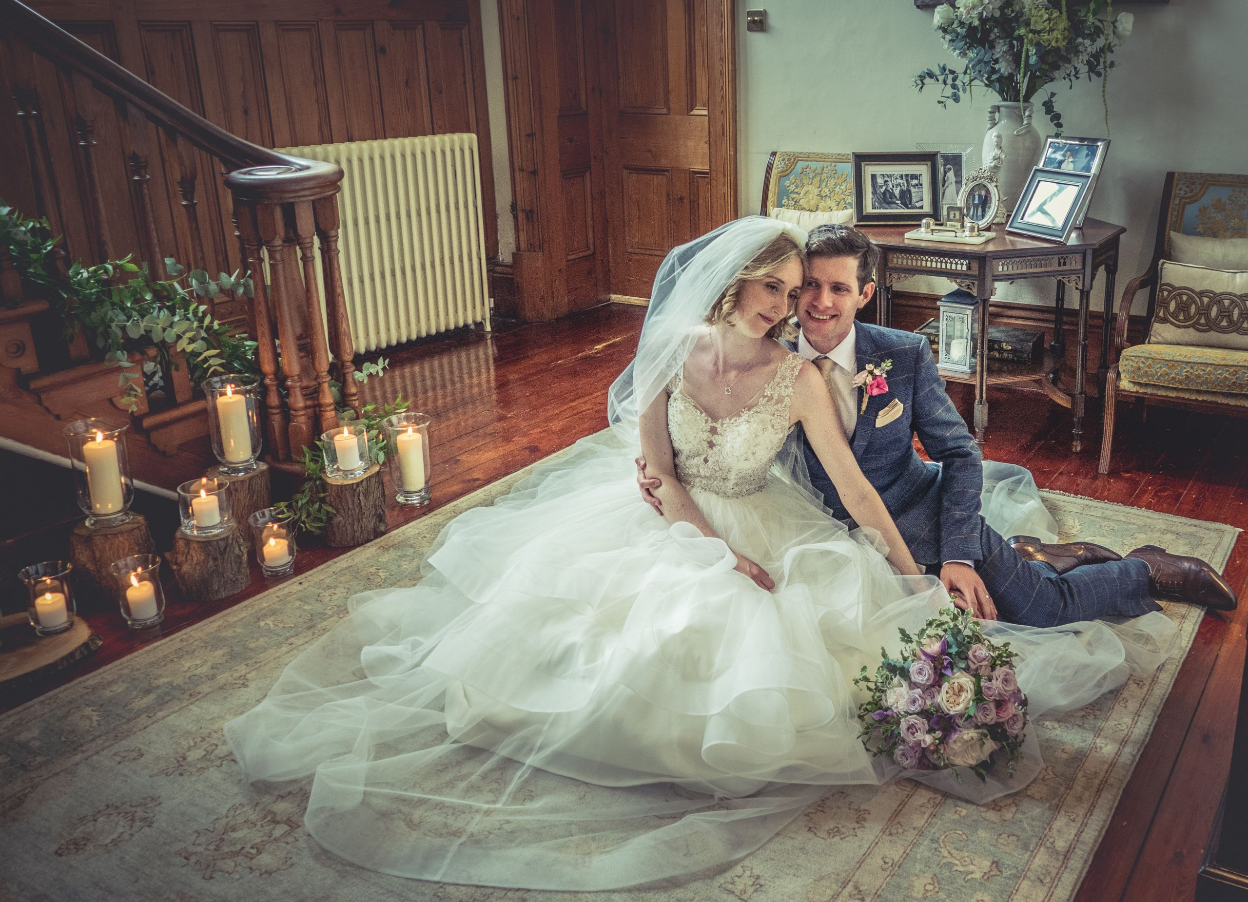bride and groom sat down at wedding