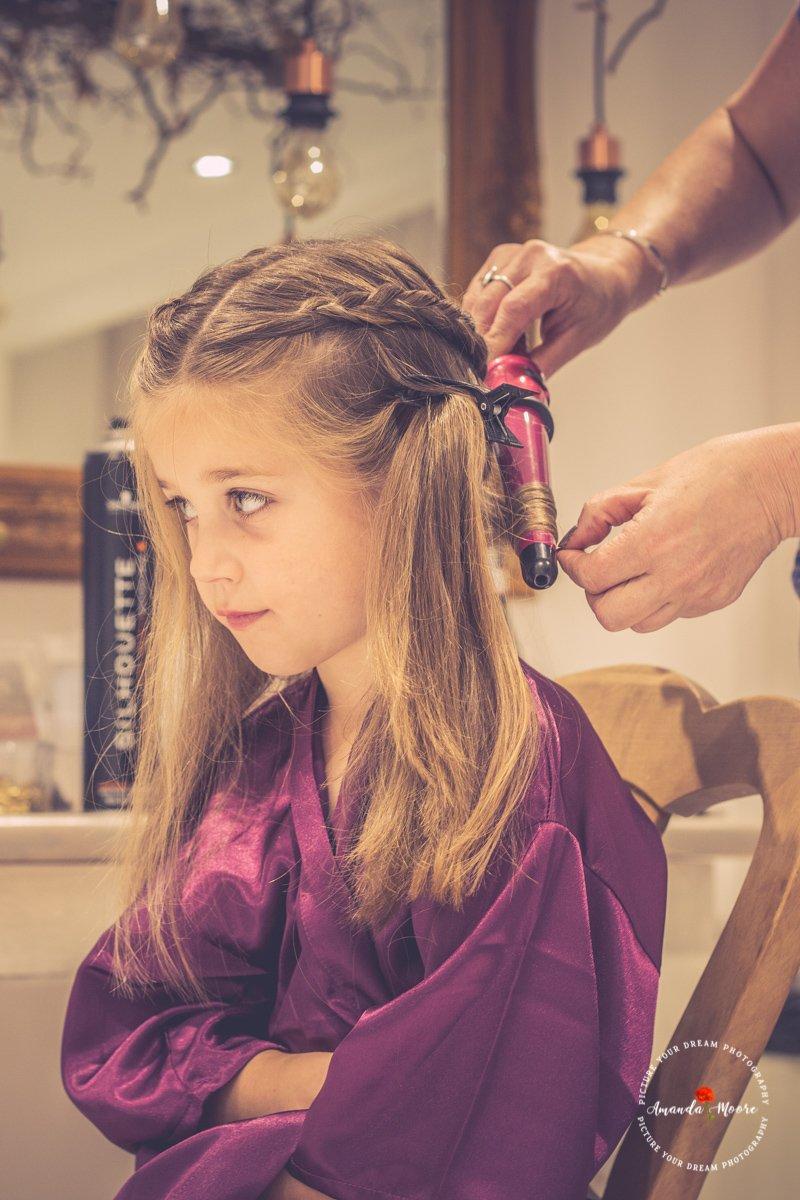 wedding girl hair prep