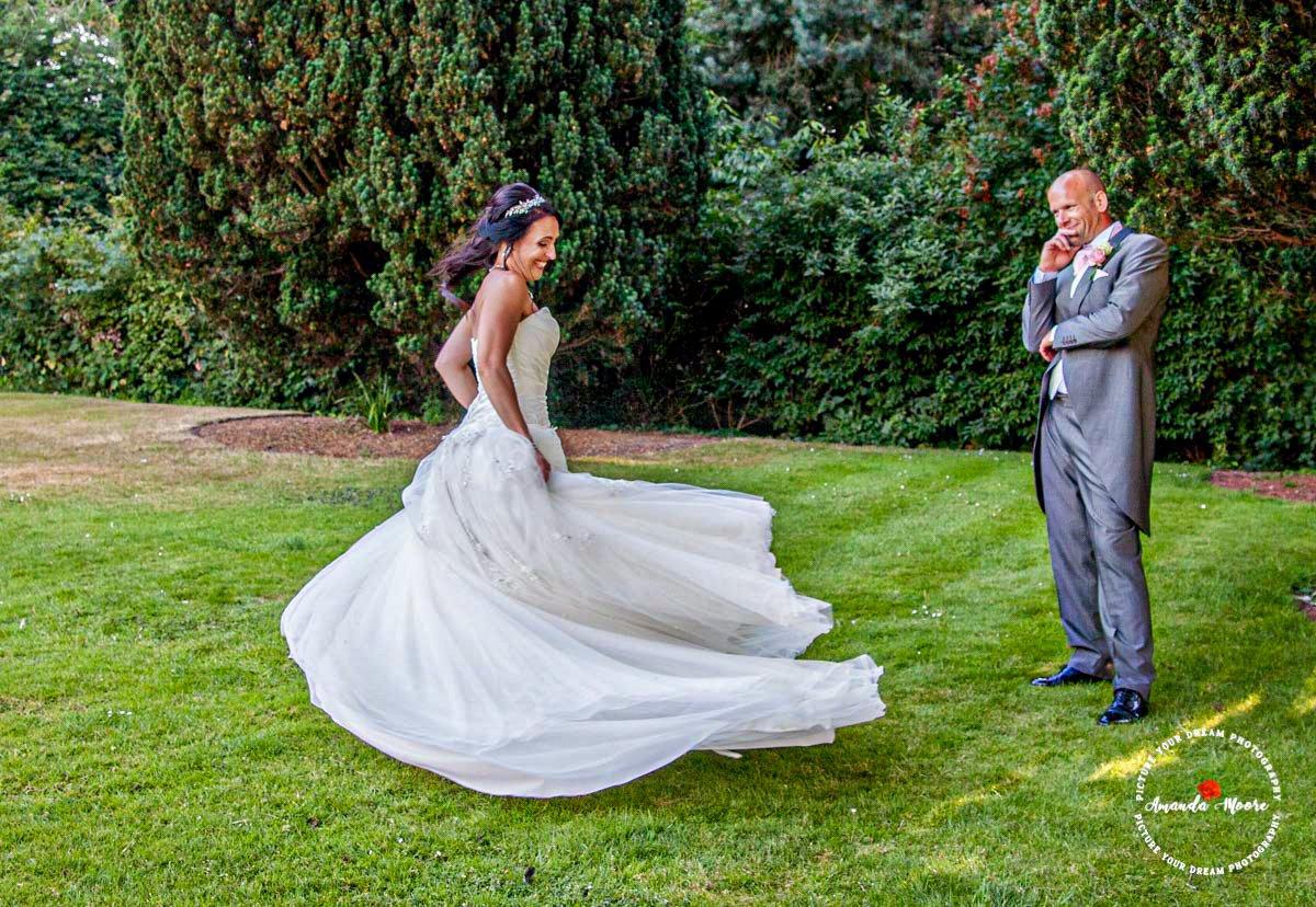 bride and groom wedding dancing outside