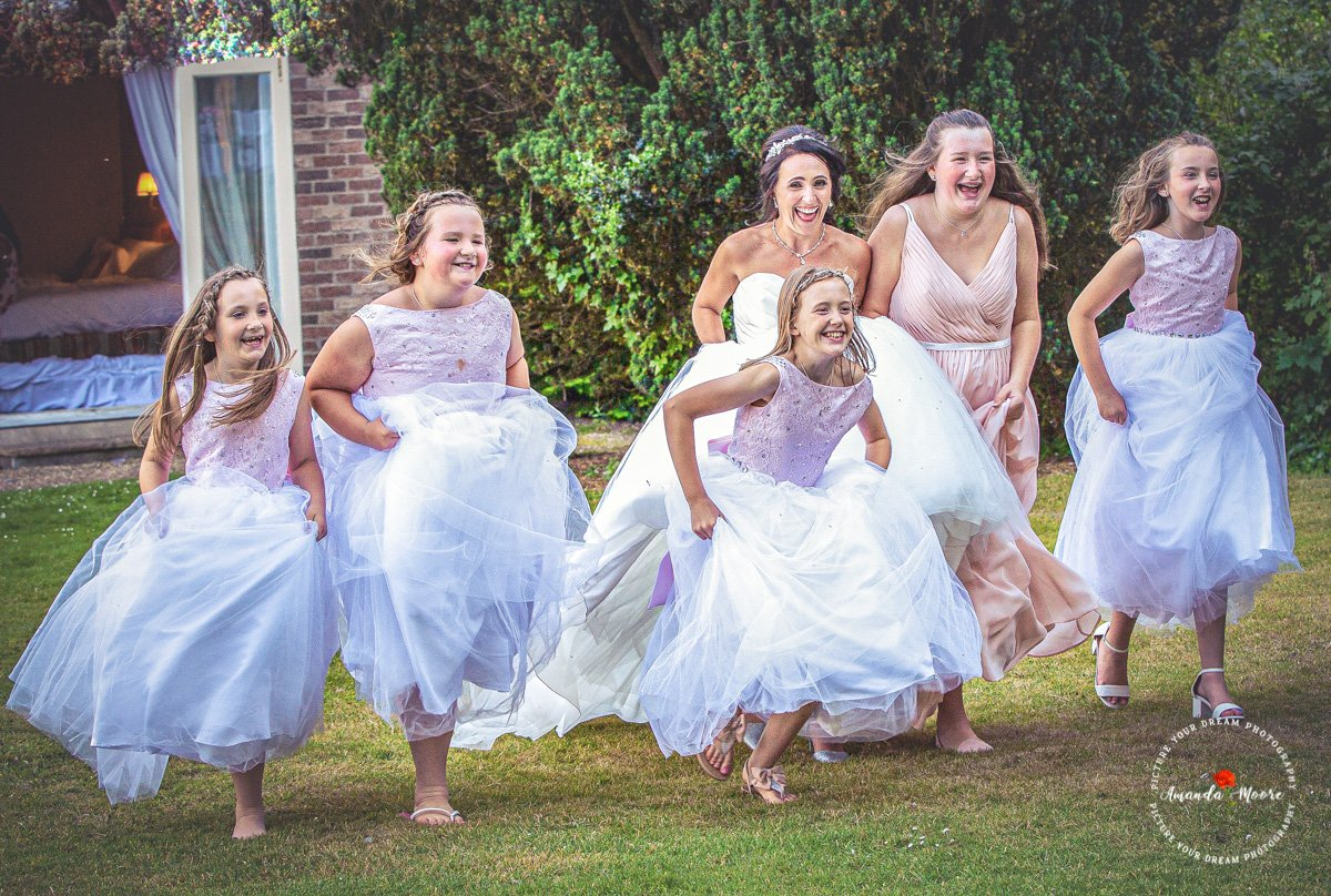 little girls excited at wedding
