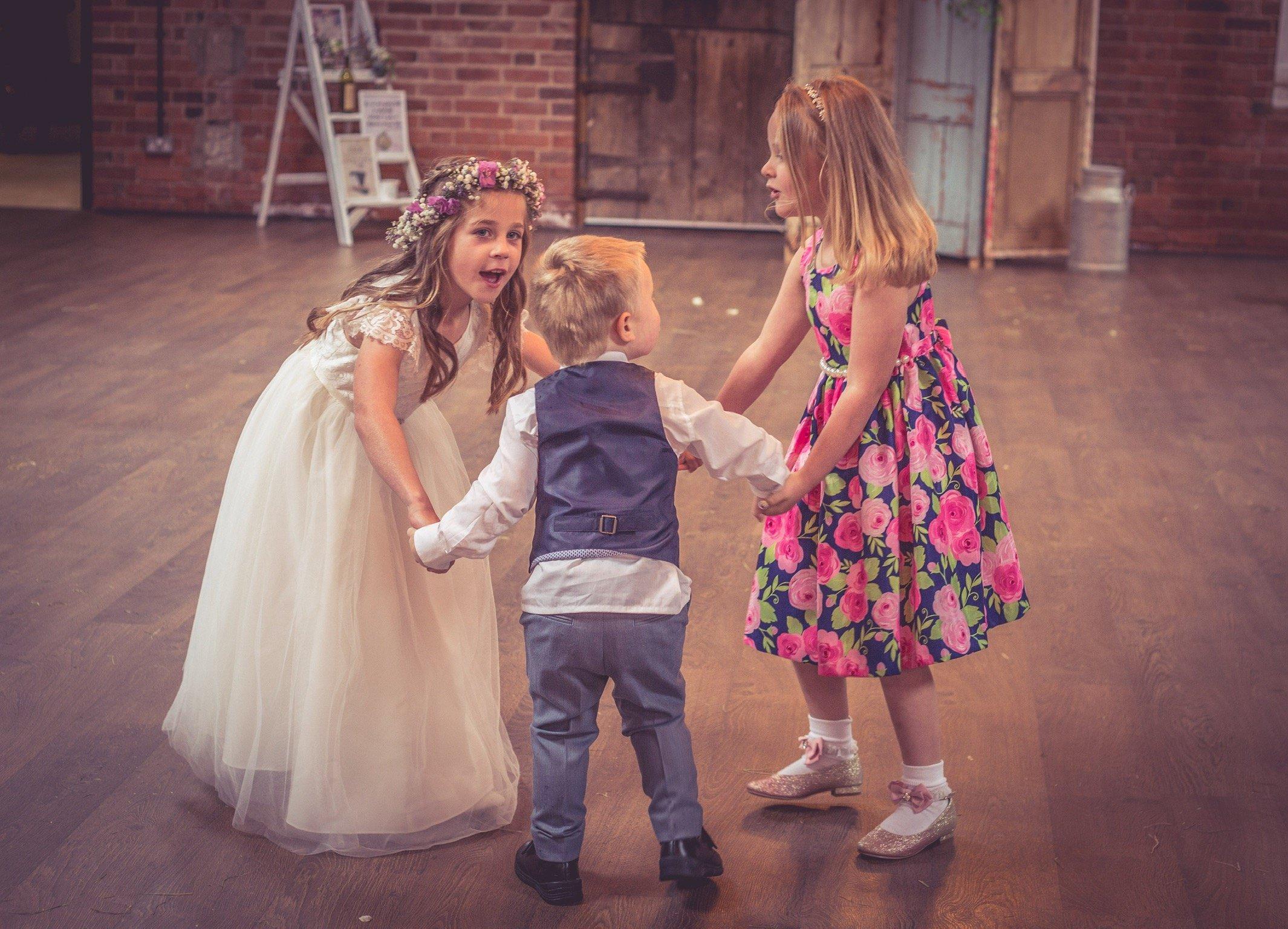children dancing at wedding photo