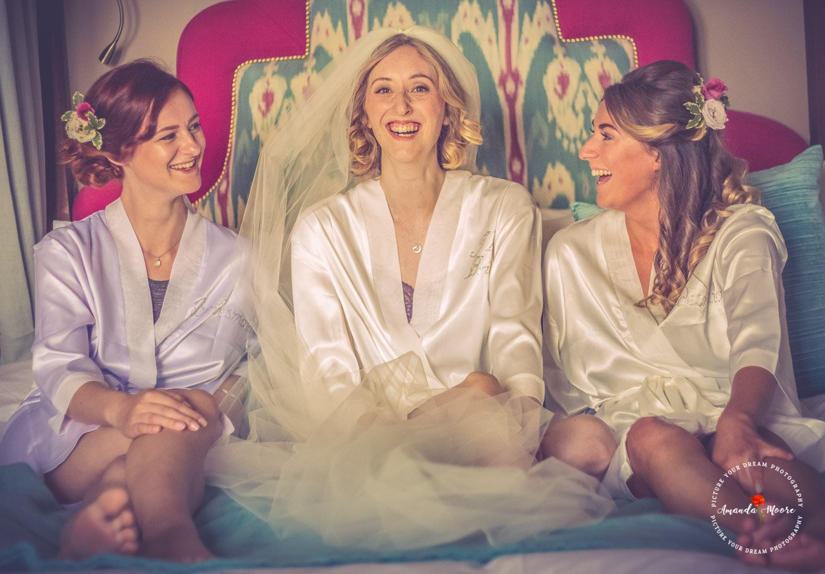 bride and bridesmaids at tanfield house wedding